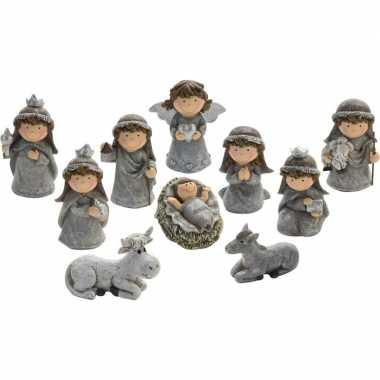 10-delige kinder kerststal figuren beeldjes 7 cm
