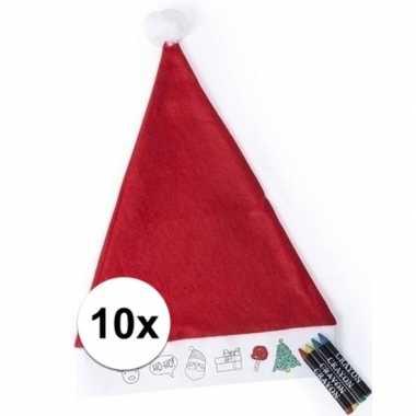 10 kerstmutsen voor kinderen inkleurbaar inclusief 4 waskrijtjes