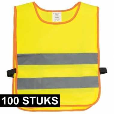 100x veiligheidsvesten fluorescerend geel voor kinderen