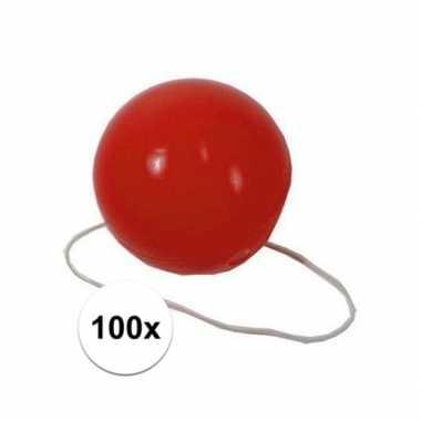 100x voordelige rode clowns neuzen