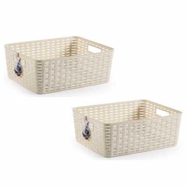 10x beige geweven opbergboxen/opbergmanden 12 liter kunststof