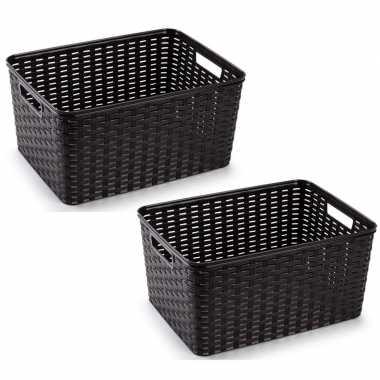 10x donker bruine geweven opbergboxen/opbergmanden 18 liter kunststof