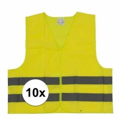 10x gele veiligheidsvesten voor kinderen