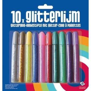 10x glitter lijm diverse kleuren