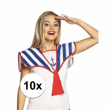 10x matrozen verkleed kraag gestreept