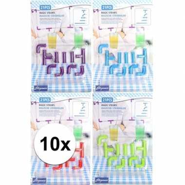 10x party/fun kinder drinkrietjes vormpjes bouwpakket