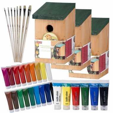 10x stuks houten vogelhuisje/nestkastje 22 cm - zelf schilderen pakket - verf/kwasten