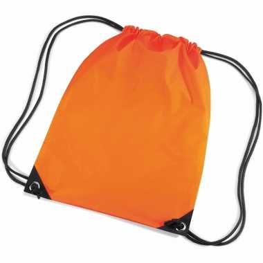 10x stuks oranje gymtas/ gymtasjes met rijgkoord 45 x 34 cm