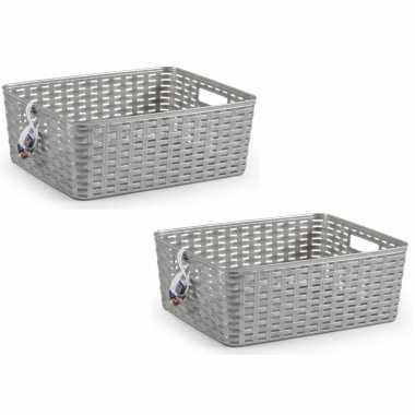 10x zilveren geweven opbergboxen/opbergmanden 12 liter kunststof
