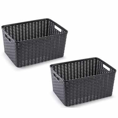 10x zwarte geweven opbergboxen/opbergmanden 18 liter kunststof