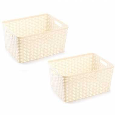 12x beige geweven opbergboxen/opbergmanden 18 liter kunststof