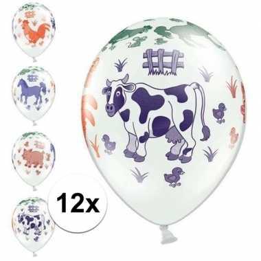 12x boerderij dieren thema verjaardag ballonnen