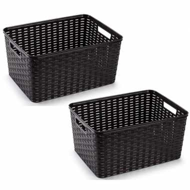 12x donkerbruine geweven opbergboxen/opbergmanden 18 liter kunststof