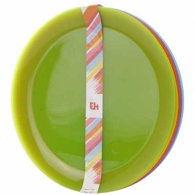 12x gekleurde borden kunststof 21 cm voor kinderen