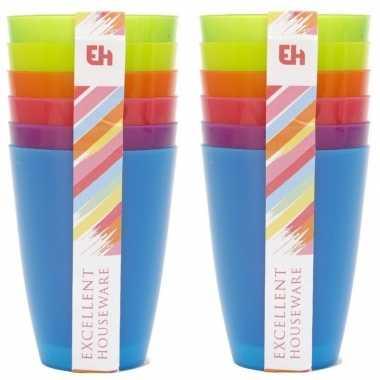 12x gekleurde drinkbekers/mokken kunststof 10 cm voor kinderen
