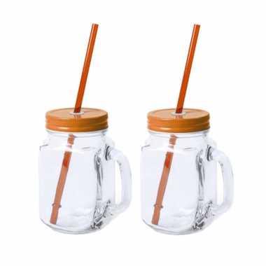 12x stuks glazen mason jar drinkbekers oranje dop/rietje 500 ml