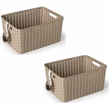 12x taupe geweven opbergboxen/opbergmanden 18 liter kunststof