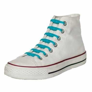 14x shoeps elastische veters aqua blauw kinderen/volwassene