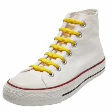 14x shoeps elastische veters geel voor kinderen/volwassenen