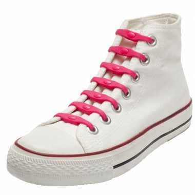 14x shoeps elastische veters roze voor kinderen/volwassenen