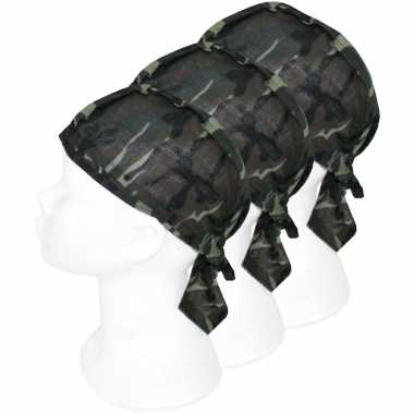 15x bandanas leger camouflageprint voor kinderen/volwassenen