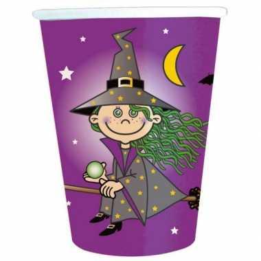 16x heksen thema party bekers van karton