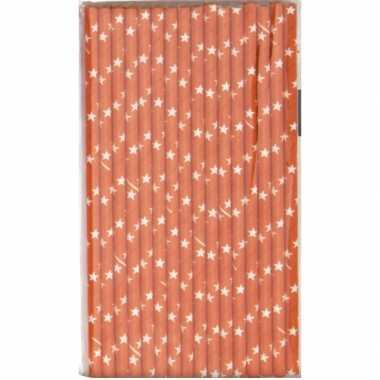 16x papieren rietjes met sterren motief oranje