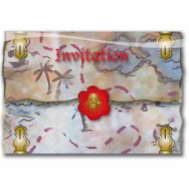 16x piraten thema feestje uitnodigingen