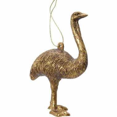 1x kerstboomhangers gouden struisvogels 12 cm kerstversiering