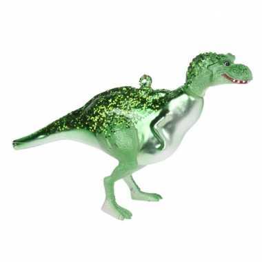 1x kerstboomhangers groene glazen dinosaurus 12 cm kerstversiering