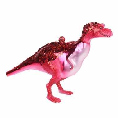 1x kerstboomhangers rode glazen dinosaurus 12 cm kerstversiering