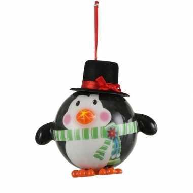 1x kersthanger figuurtje pinguin kerstbal met licht 8 cm