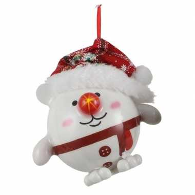 1x kersthanger figuurtje sneeuwpop kerstbal met licht 8 cm