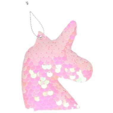 1x kersthangers figuurtjes eenhoorn roze met pailletten 7 cm