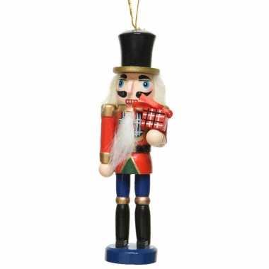 1x kersthangers notenkrakers met cadeautje poppetjes/soldaten 12,5 cm