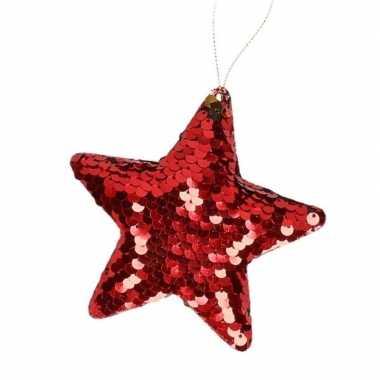 1x kersthangers rode pailletten ster 10 cm