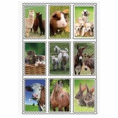 2 vellen van 3d kinder stickers boerderijdieren 9 stuks per vel