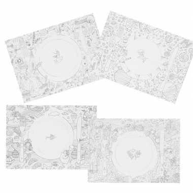20x knutsel papieren placemats om in te kleuren voor kinderen