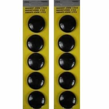 20x stuks ronde koelkast / whiteboard magneten zwart 40 mm