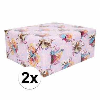 2x disney frozen paars inpakpapier 200 x 70 cm op rol