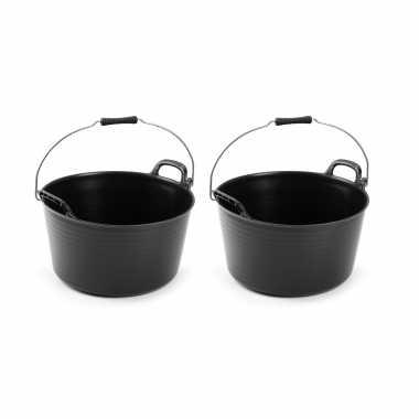 2x flexibele emmers/wasmanden zwart met hengsel 26 liter