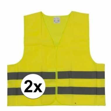 2x gele veiligheidsvesten voor kinderen