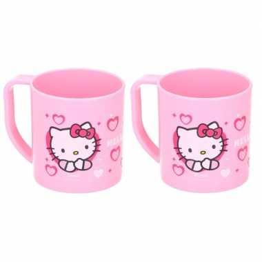 2x hello kitty disney mokken onbreekbare drinkbekers lichtroze