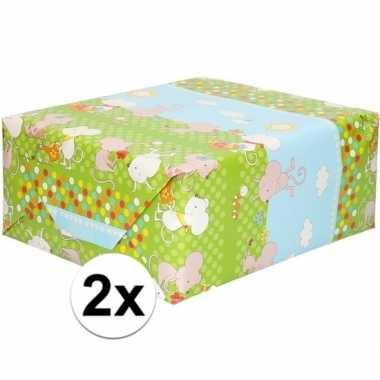 2x inpakpapier/cadeaupapier groen met muizen print 200 x 70 cm