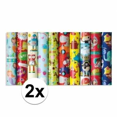 2x inpakpapier kinder verjaardag met ijsjes 200 x 70 cm