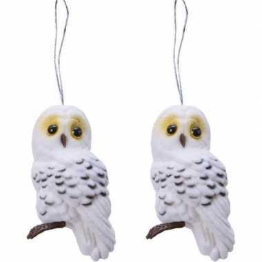 2x kerstboomhangers witte uilen 8 cm kerstversiering