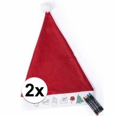2x kerstmutsen voor kinderen inkleurbaar inclusief 4 waskrijtjes