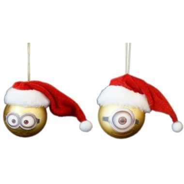 2x kunststof kerstballen minions dave en carl met kerstmuts 6 cm
