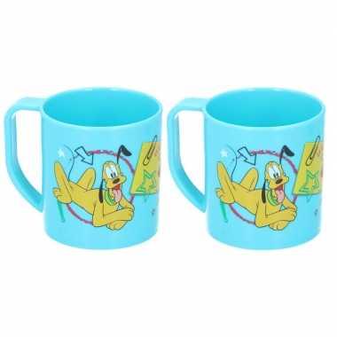 2x mickey mouse disney mokken onbreekbare drinkbekers lichtblauw