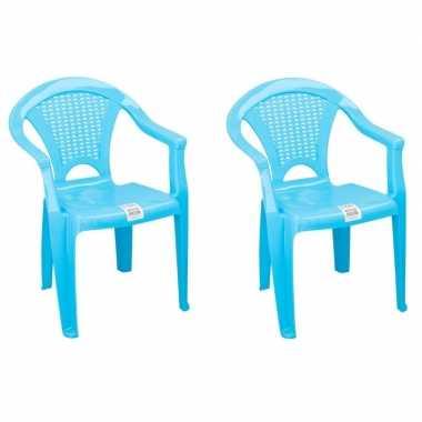 2x plastic kinderstoelen blauw gesloten leuning 37 x 31 x 51 cm